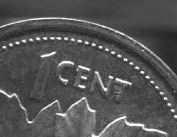 Closeup of 1 cent