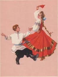 Russian national dance postcard ...
