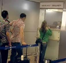 queue at passport control.