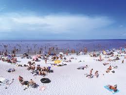 The beach has three kilometres