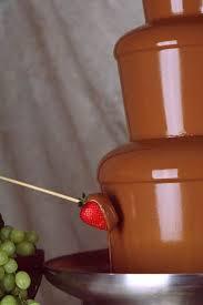 Dark brown, flowing chocolate
