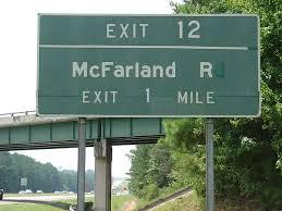 McFarland Road (Exit 12).