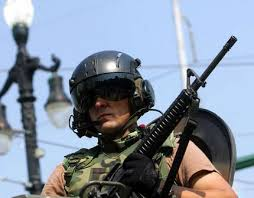 Heavily armed military police