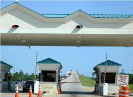 A small toll plaza is situated